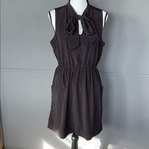 Black with pinkish polka dot sleeveless dress